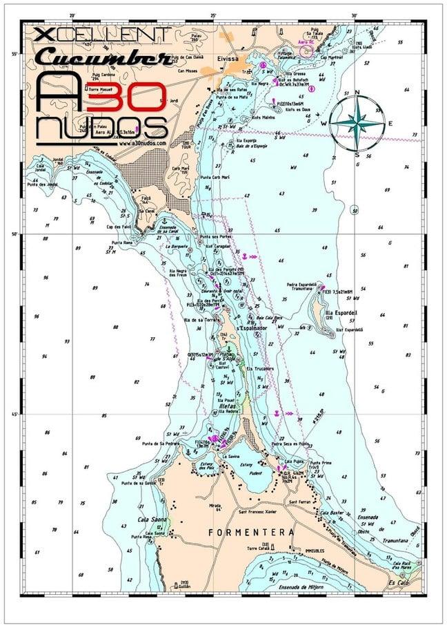 Carta navegación Formentera e Ibiza