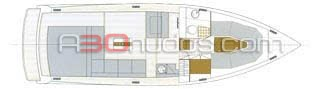 Plano del camarote interior del barco de alquiler