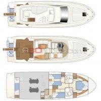 Distribución del barco Ferretti 460 de alquiler en Ibiza