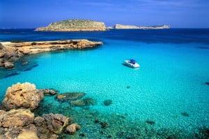 Cala Comte bay, Ibiza, Balearen, Spanien